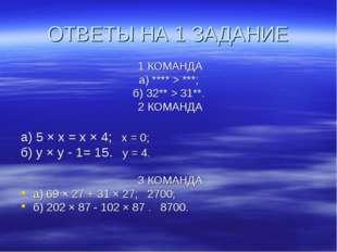 ОТВЕТЫ НА 1 ЗАДАНИЕ 1 КОМАНДА а) **** > ***; б) 32** > 31**. 2 КОМАНДА а) 5 ×