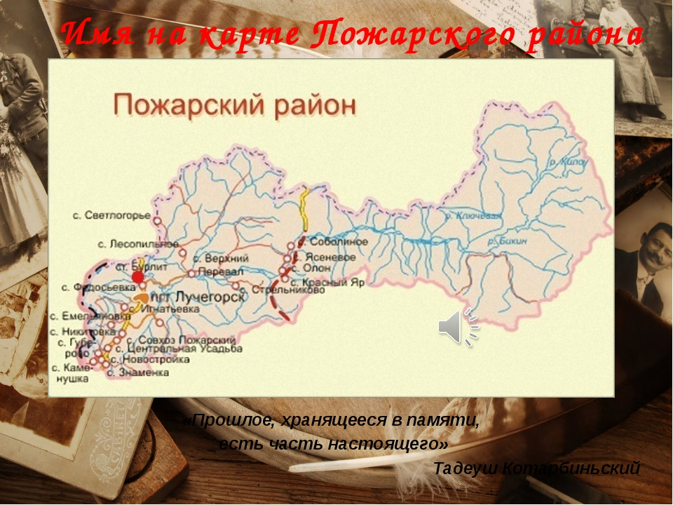 Имя на карте Пожарского района «Прошлое, хранящееся в памяти, есть часть наст...