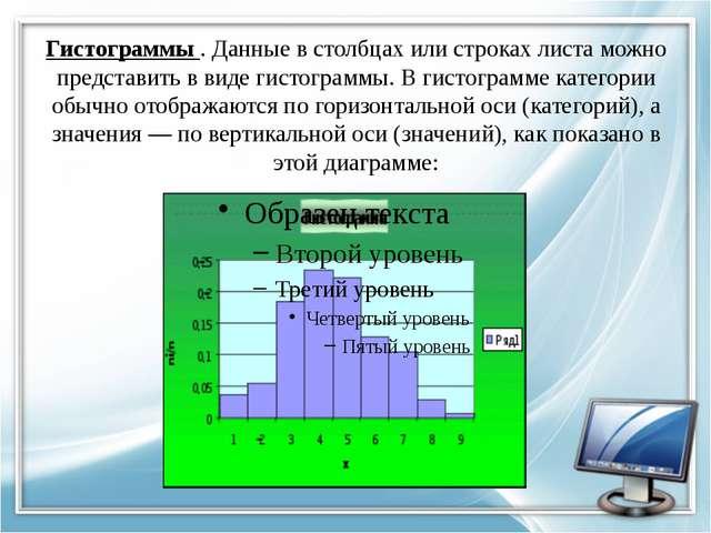 Гистограммы . Данные в столбцах или строках листа можно представить в виде ги...