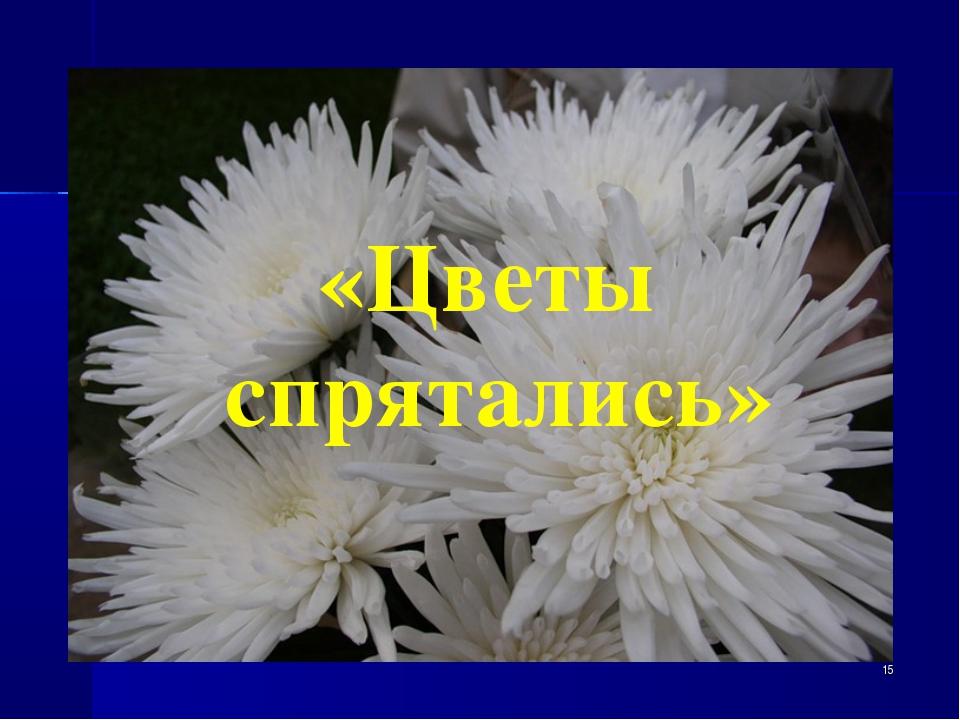 * «Цветы спрятались»