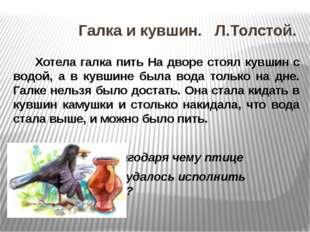 Галка и кувшин. Л.Толстой. Хотела галка пить На дворе стоял кувшин с водой,
