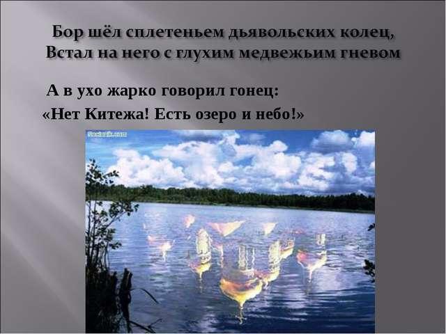 А в ухо жарко говорил гонец: «Нет Китежа! Есть озеро и небо!»