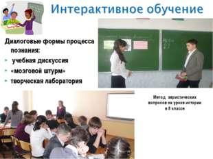 Диалоговые формы процесса познания: учебная дискуссия «мозговой штурм» творче