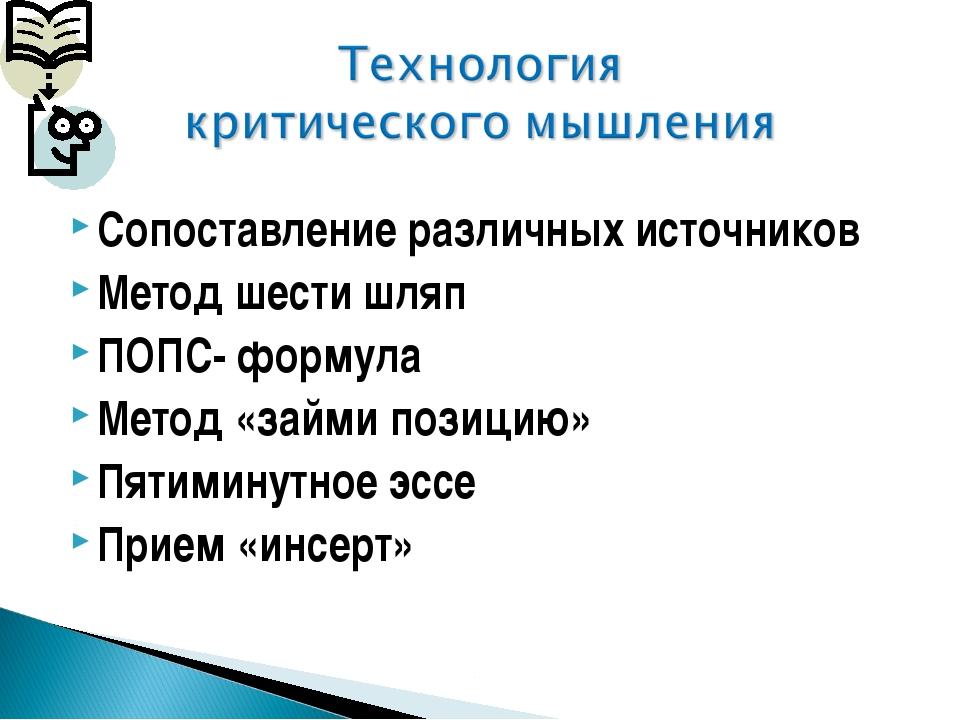 Сопоставление различных источников Метод шести шляп ПОПС- формула Метод «займ...
