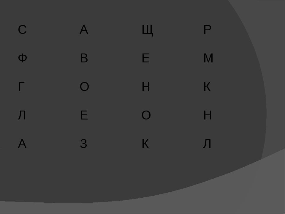С А Щ Р Ф В Е М Г О Н К Л Е О Н А З К Л