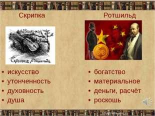 Скрипка искусство утонченность духовность душа Ротшильд богатство материальн