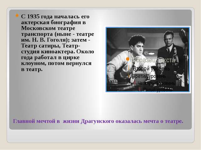 Главной мечтой в жизни Драгунского оказалась мечта о театре. С 1935 года нача...