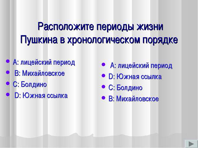Расположите периоды жизни Пушкина в хронологическом порядке А: лицейский пер...
