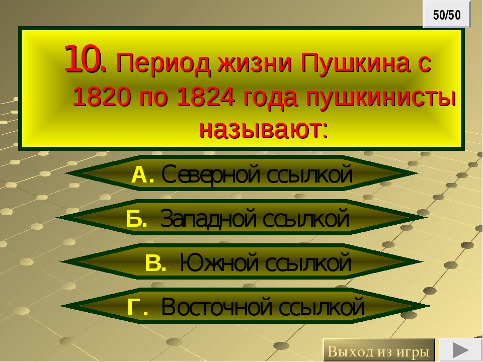 10. Период жизни Пушкина с 1820 по 1824 года пушкинисты называют: Б. Западно...
