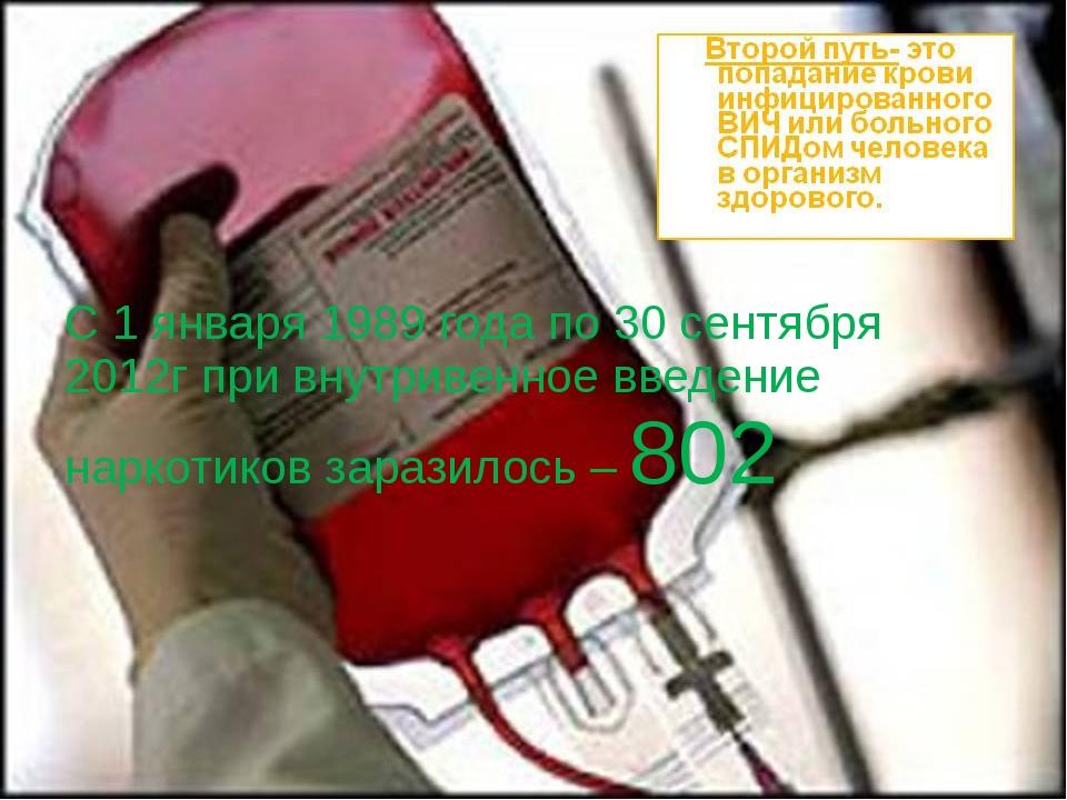 С 1 января 1989 года по 30 сентября 2012г при внутривенное введение наркотик...