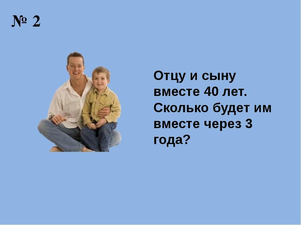 № 2 Отцу и сыну вместе 40 лет. Сколько будет им вместе через 3 года?