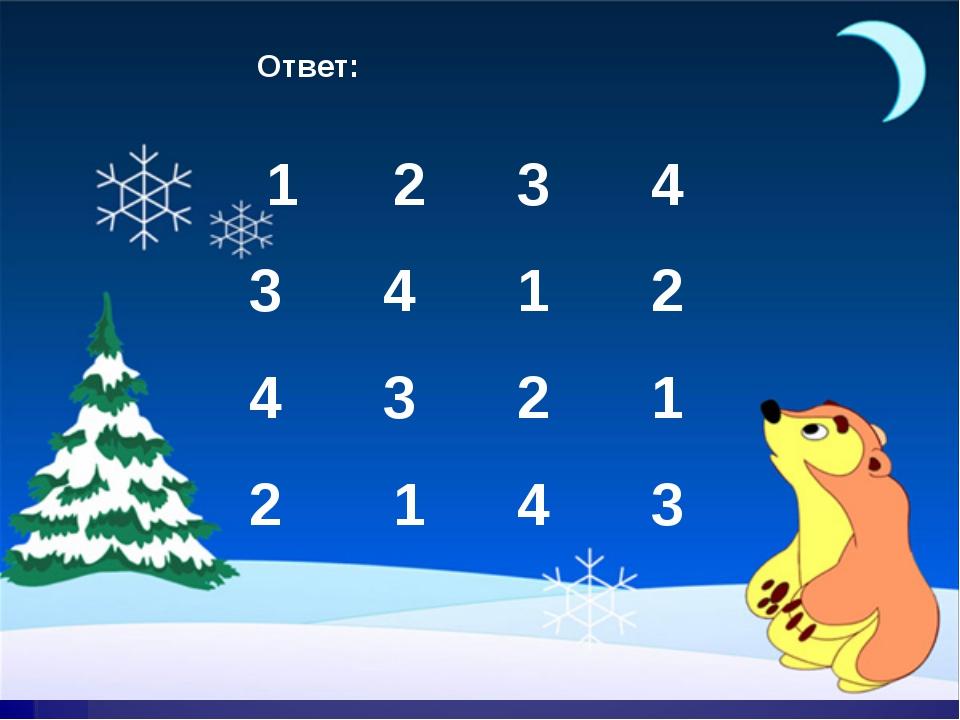 Ответ: 1 2 3 4 3 4 1 2 4 3 2 1 2 1 4 3