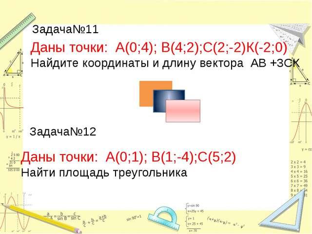 Даны точки: А(0;4); В(4;2);С(2;-2)К(-2;0) Найдите координаты и длину вектора...