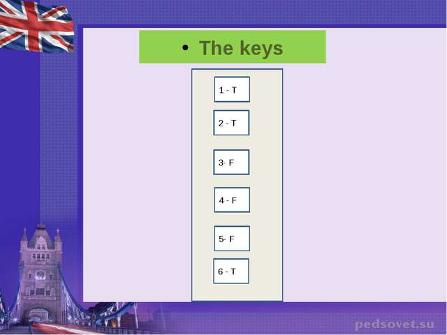 The keys 1 - T 2 - T 3- F 4 - F 5- F 6 - T
