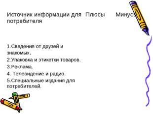 Источник информации для потребителяПлюсыМинусы 1.Сведения от друзей и знак