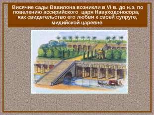 В Вавилоне находились одно из семи чуде света – «Висячие сады Семирамиды» Вис