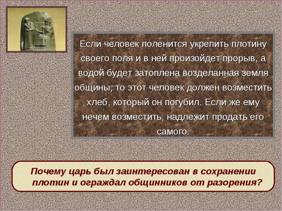 Почему царь был заинтересован в сохранении плотин и ограждал общинников от ра...