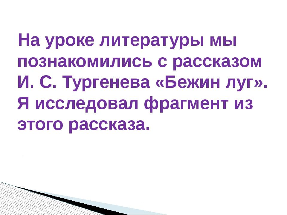 На уроке литературы мы познакомились с рассказом И. С. Тургенева «Бежин луг»....