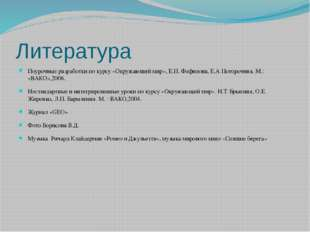 Литература Поурочные разработки по курсу «Окружающий мир», Е.П. Фефилова, Е.А