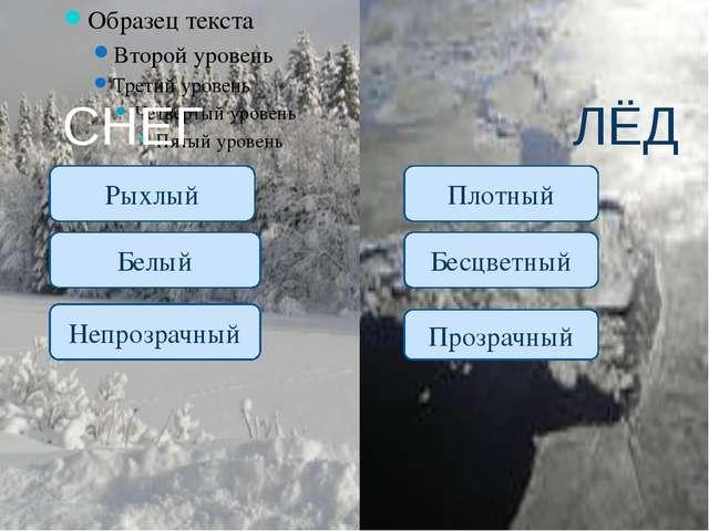 СНЕГ ЛЁД Рыхлый Белый Плотный Бесцветный Непрозрачный Прозрачный