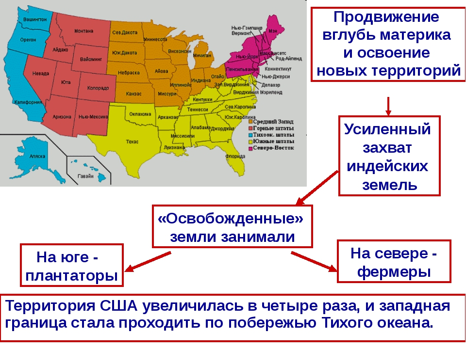 Территория США увеличилась в четыре раза, и западная граница стала проходить...
