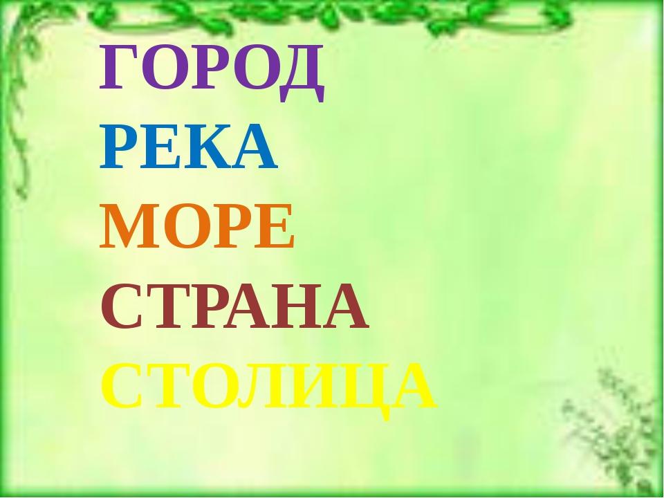 ГОРОД РЕКА МОРЕ СТРАНА СТОЛИЦА
