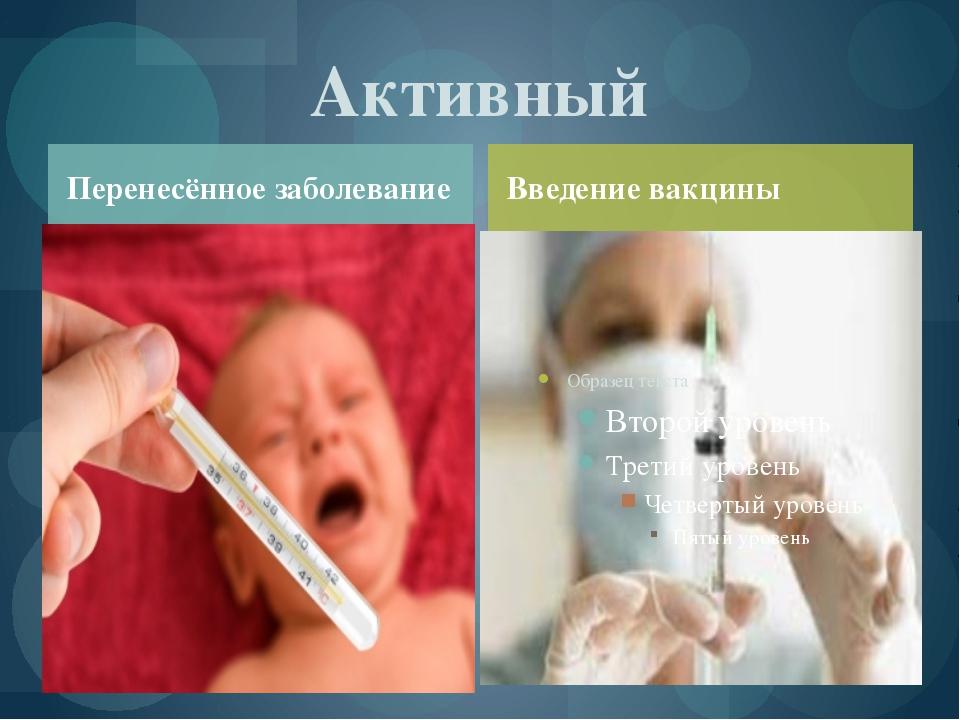 Перенесённое заболевание Активный Введение вакцины