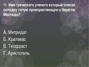 11. Имя греческого ученого который описал солодку голую произрастающую у бере