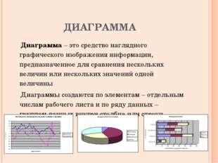 ДИАГРАММА Диаграмма – это средство наглядного графического изображения информ
