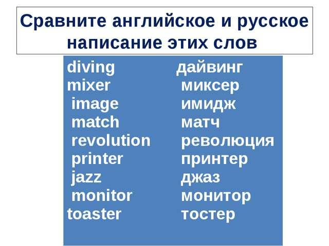 Сравните английское и русское написание этих слов diving mixer image match re...