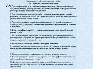 Диагностическая карта урока Характерные особенности урока в рамках системно-д