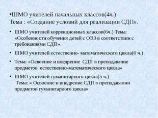 ШМО учителей начальных классов(4ч.) Тема : «Создание условий для реализации С