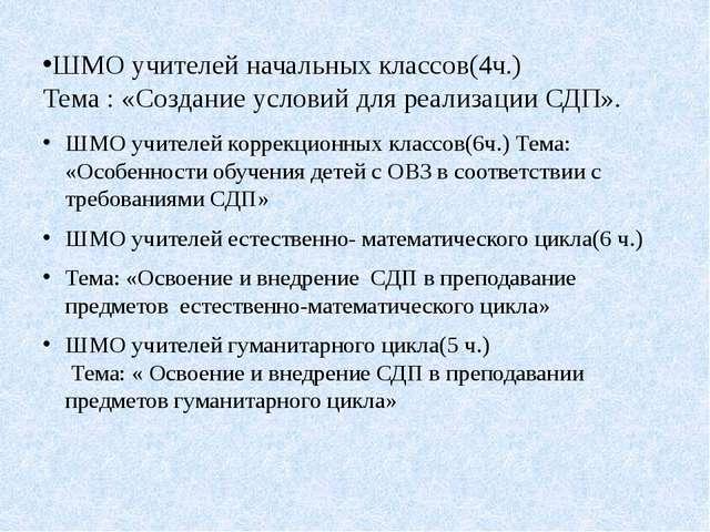 ШМО учителей начальных классов(4ч.) Тема : «Создание условий для реализации С...