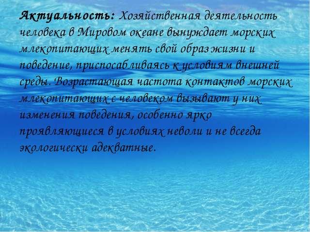 Актуальность: Хозяйственная деятельность человека в Мировом океане вынуждает...
