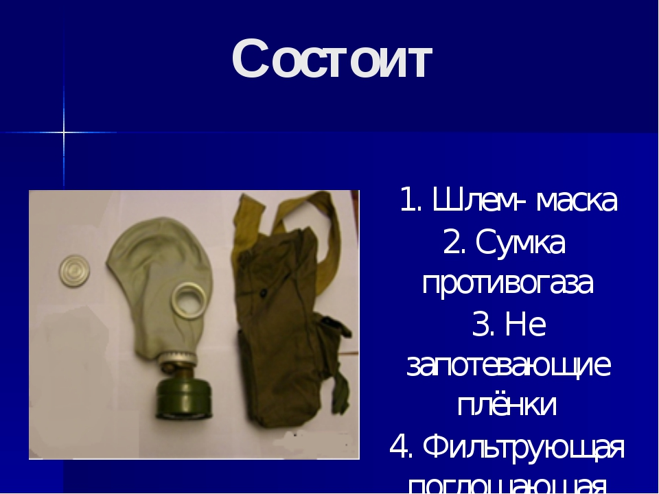 Состоит 1. Шлем- маска 2. Сумка противогаза 3. Не запотевающие плёнки 4. Филь...