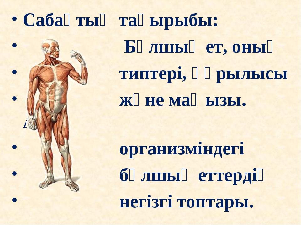 Сабақтың тақырыбы: Бұлшық ет, оның типтері, құрылысы және маңызы. Адам органи...