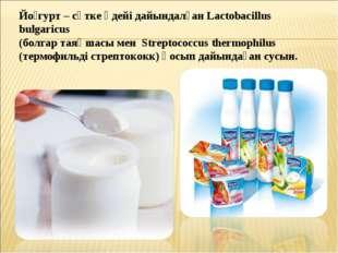 Йо́гурт – сүтке әдейі дайындалған Lactobacillus bulgaricus (болгар таяқшасы м