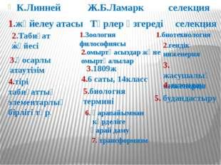 К.Линней Ж.Б.Ламарк селекция 1.жүйелеу атасы Түрлер өзгереді селекция . 1.Зоо