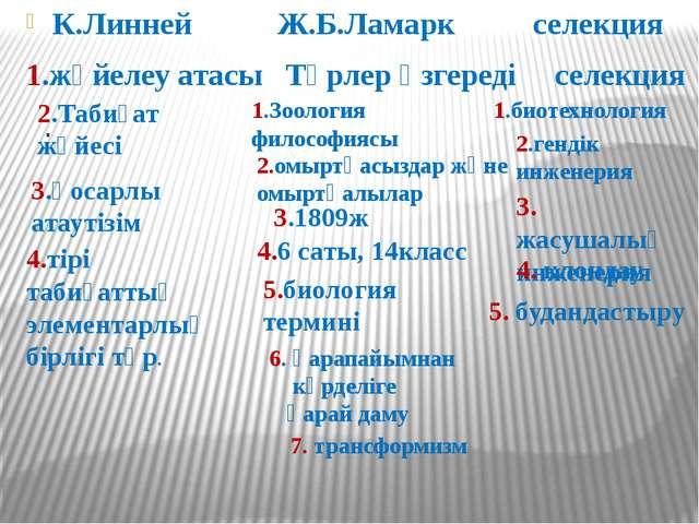 К.Линней Ж.Б.Ламарк селекция 1.жүйелеу атасы Түрлер өзгереді селекция . 1.Зоо...