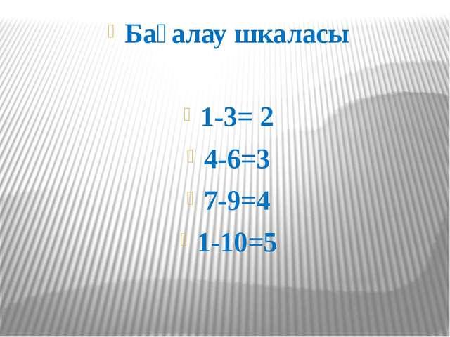 Бағалау шкаласы 1-3= 2 4-6=3 7-9=4 1-10=5