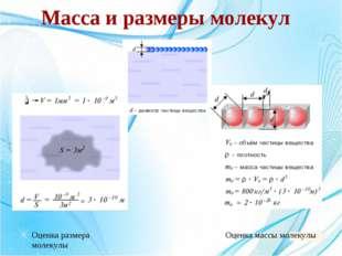 Масса и размеры молекул Оценка размера молекулы Оценка массы молекулы