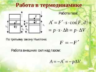 Работа в термодинамике Работа газа: По третьему закону Ньютона: Работа внешни