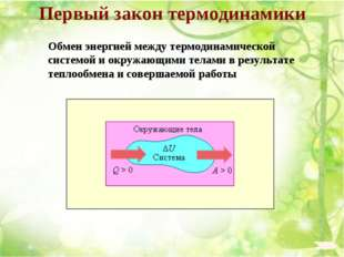 Первый закон термодинамики Обмен энергией между термодинамической системой и