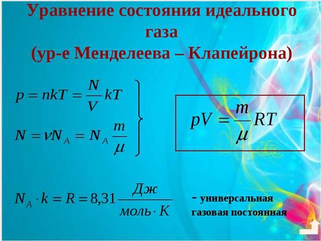 Уравнение состояния идеального газа (ур-е Менделеева – Клапейрона) - универса...