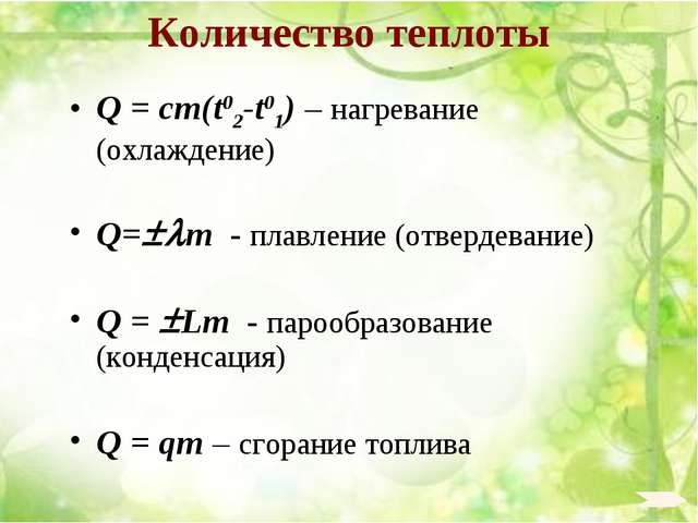 Количество теплоты Q = cm(t02-t01) – нагревание (охлаждение) Q=m - плавлени...