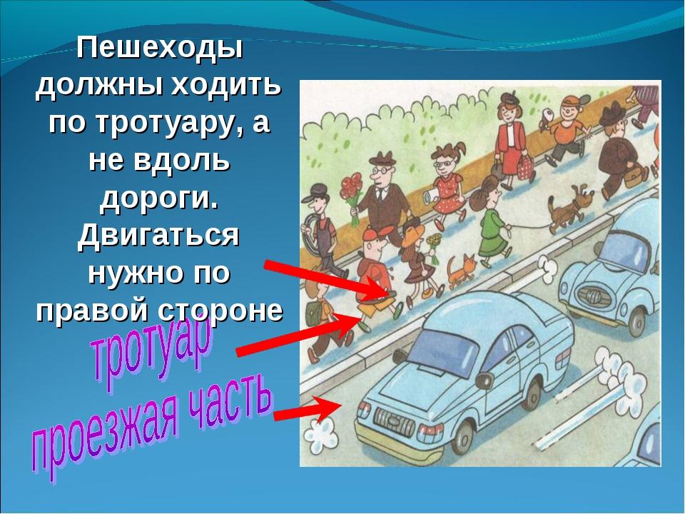 Пешеходы должны ходить по тротуару, а не вдоль дороги. Двигаться нужно по пра...