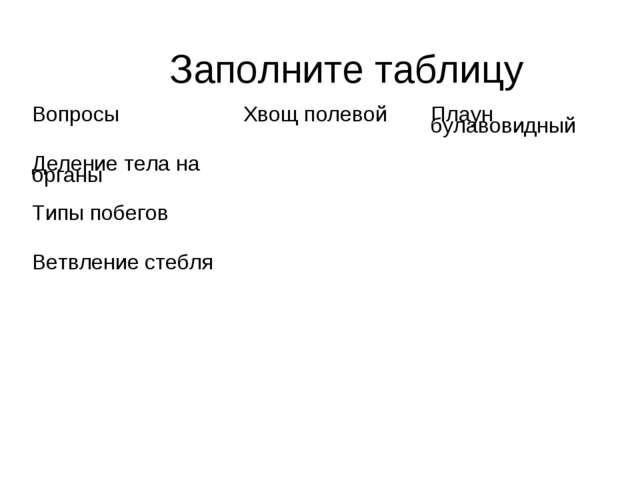 Заполните таблицу Вопросы  Хвощ полевой  Плаун булав...