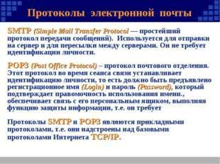 Протоколы электронной почты SMTP (Simple Mail Transfer Protocol — простейший