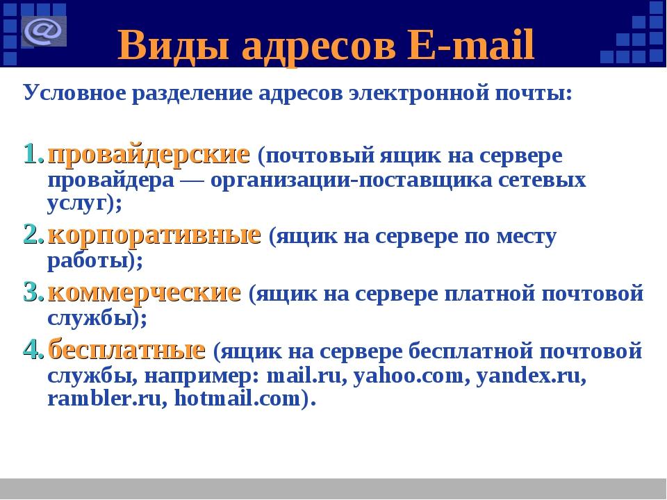 Виды адресов E-mail Условное разделение адресов электронной почты: провайдерс...