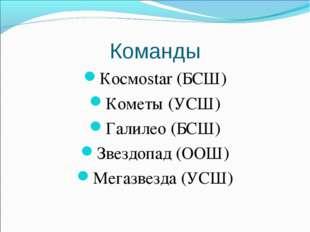 Команды Космоstar (БСШ) Кометы (УСШ) Галилео (БСШ) Звездопад (ООШ) Мегазвезда